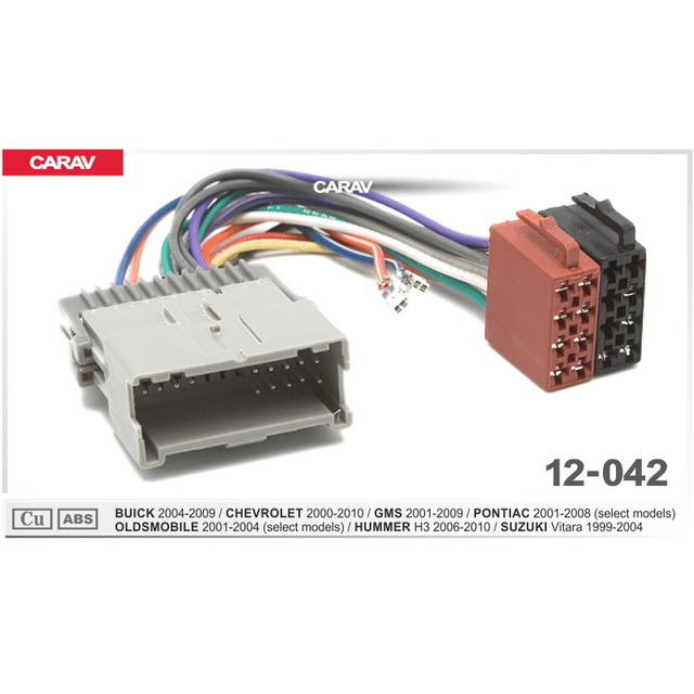 carav 12-042 iso radio adapter for buick 2004-2009/chevrolet 2000-2010/suzuki  wiring harness connector lead loom cable plug
