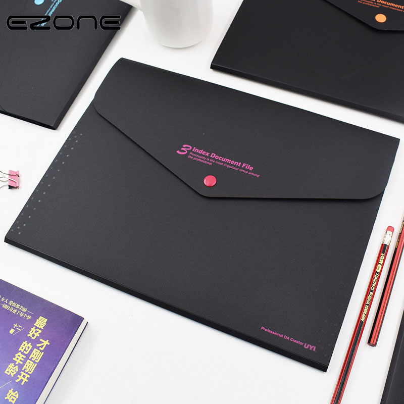EZONE 1PC A4 Button File Bag Large Capacity Multi-layer Folder 8 Colors Meeting Information Bag Creative Utility Stationery New