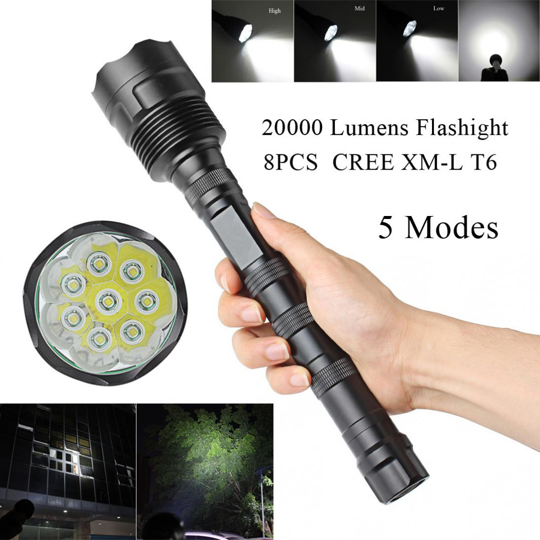 20000 Lumen 5 Mode Super Bright 8x XML T6 Flashlight Torch Lamp Light sales hot sale 1800 lumen super bright xml t6 led bike light headlamp waterproof 3 mode led bicycle light flashlight