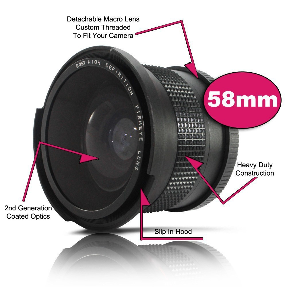 0.35x58mm Super Fisheye Grand Angle pour Canon 58 MM Rebelles T3i T3 T2i T1i T2 T3 700D 650D 600D 550D 500D 1100D 1000D 18-55mm
