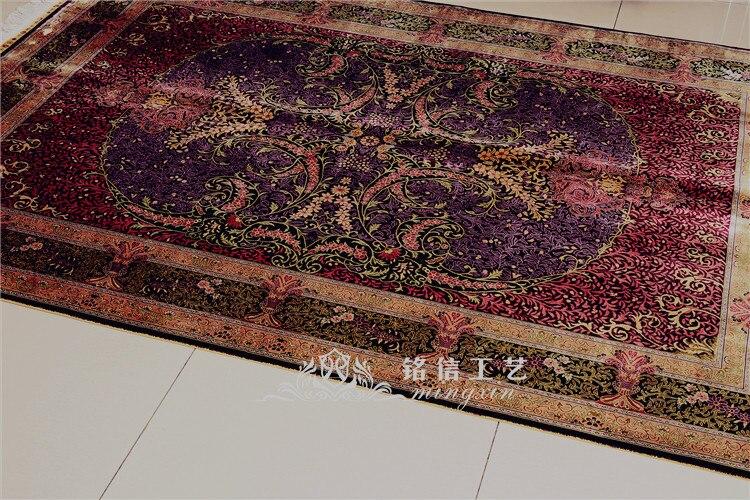5'x7. 5' tapis de soie persan fait main rouge tapis de zone de tissage à la main - 2