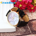 Fantastic 2016 Men Vintage Earth World Map Sport  Analog wrist Hours alarm clock Wrist watch WristWatches  May 26