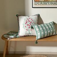 Peach Pomegranate tree linen viscose pillow case 1pc AB side design handmade office home hotel accessory throw pillow