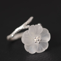 925 Sterling Silver White Crystal Astilboides Tabularis Flowers Open Rings For Women Vintage Style Lady Sterling
