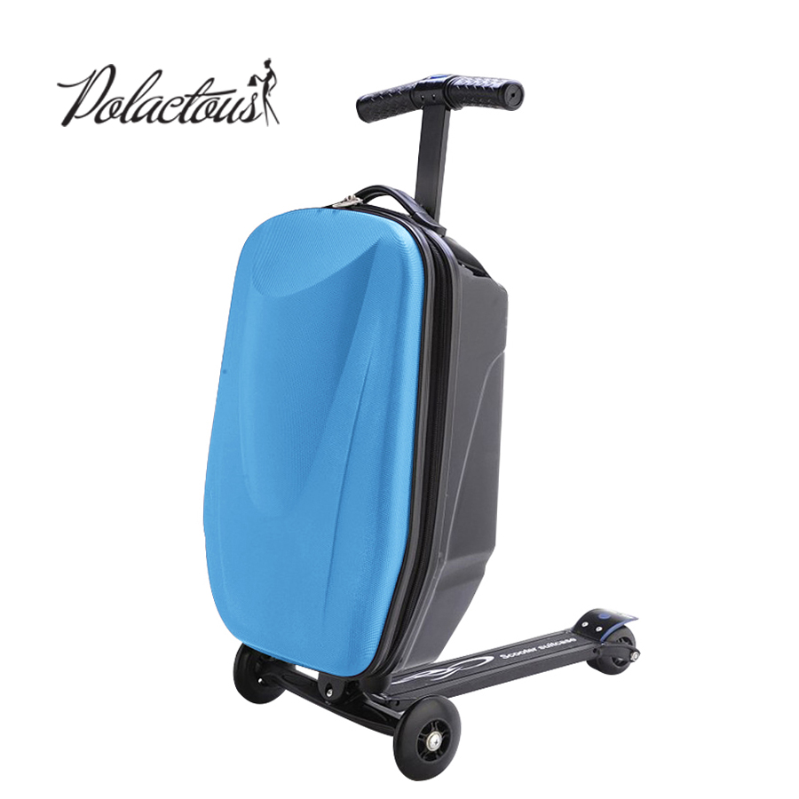 100% PC Suitcase Fashion Students Scooter Boy Cool 3D Case Carts Extrusion Business Travel Baggage Children Boarding Box 2 Types cool 20 inches camouflage boy scooter suitcase men trolley case extrusion students backpack business travel luggage boarding box