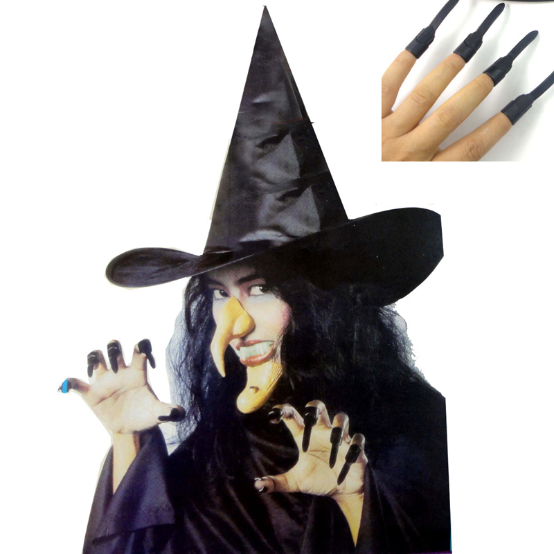 Halloween Cosplay Props Witch Set Wizard Hat+Nose+Chin+Teeth+Nail For Adult or Children Masquerade Party Wear Horrible Props
