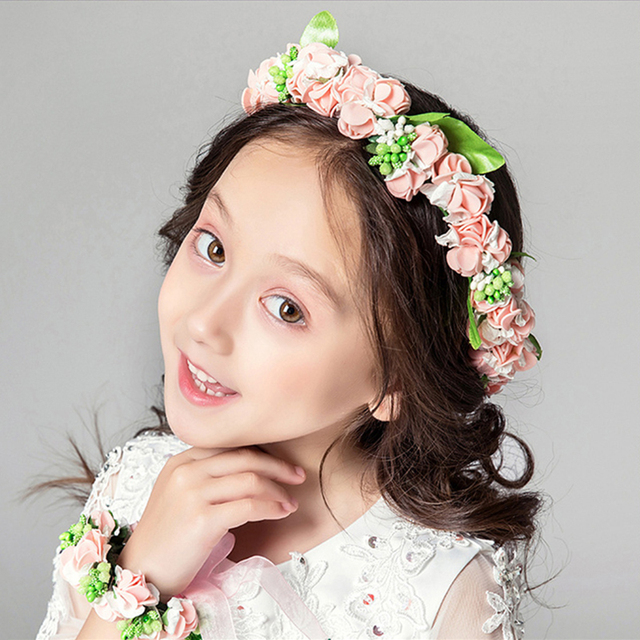 Women Headband Head Pink Flower Tiara White Flower Crown Wedding