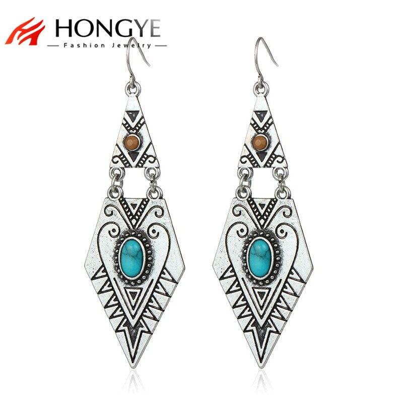 Tibetan Earrings Women 2018 New vintage Antique Gold Silver Plated Geometric Carve Blue Red Stone Earrings Big Dangling Earrings