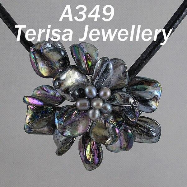 Идеальное ожерелье в виде цветка из натуральной раковины, белое ожерелье из пресноводного жемчуга, ювелирные изделия из черной кожи, новинка - Окраска металла: black shell flower