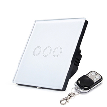 EU/UK RF433 Touch Switch Remote Control Wall Light Switch 3 Gang 1 Way With Crystal Glass Touch Panel Waterproof