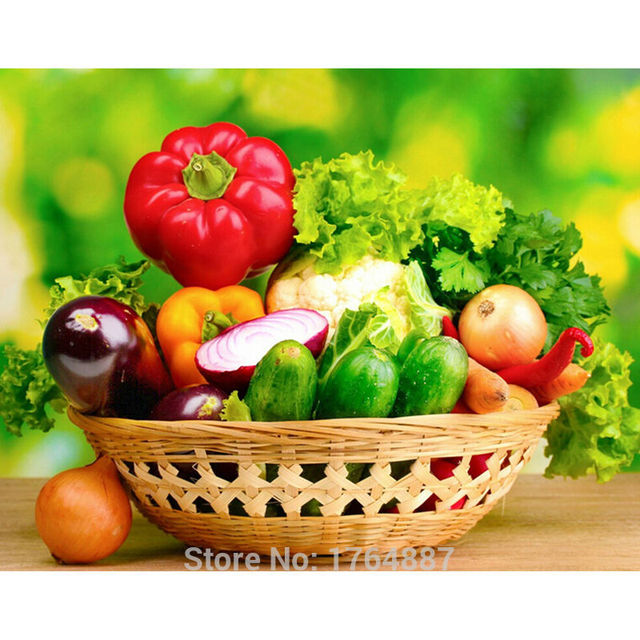 5D Diy Diamond Painting Cross Stitch Vegetable And Fruit Basket Full Drill  Diamond Embroidery Kitchen Restaurant