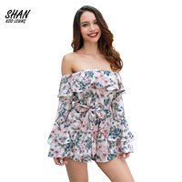 Women's Floral Playsuits Woven Sexy Strapless off shoulder Bandage Long Sleeve Short Pants Jumpsuit Casual Costume Overalls Lady