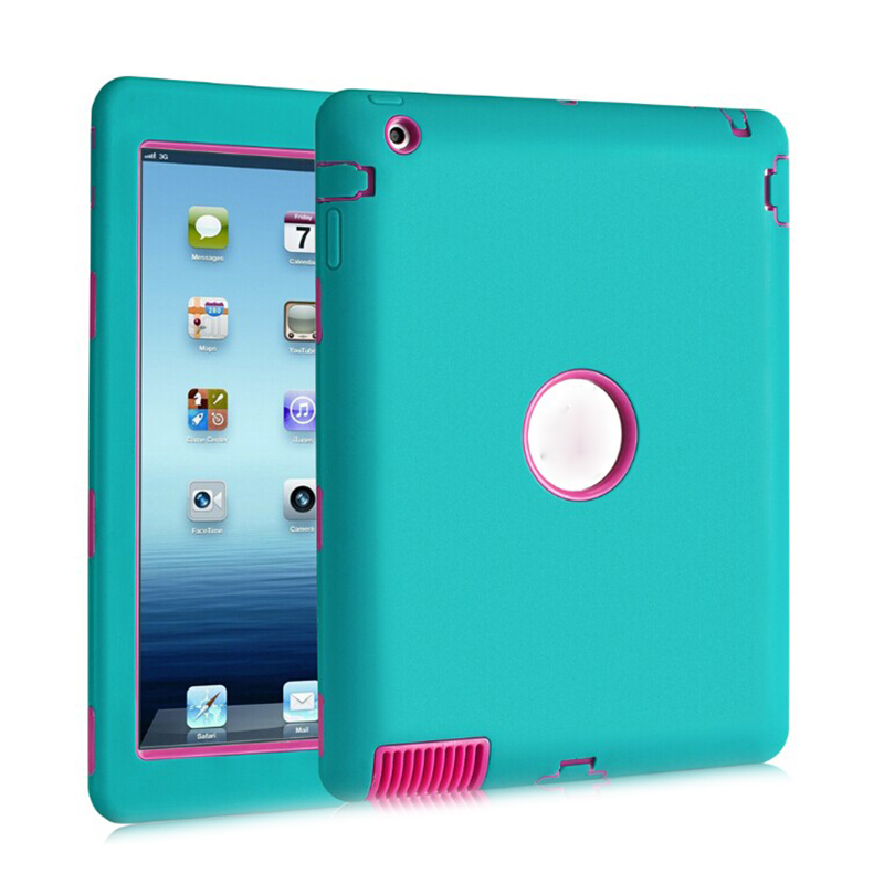 Heavy Duty Shockproof Case Cover For iPad 4 3 2 Wood Blue and Rose Red for amazon 2017 new kindle fire hd 8 armor shockproof hybrid heavy duty protective stand cover case for kindle fire hd8 2017