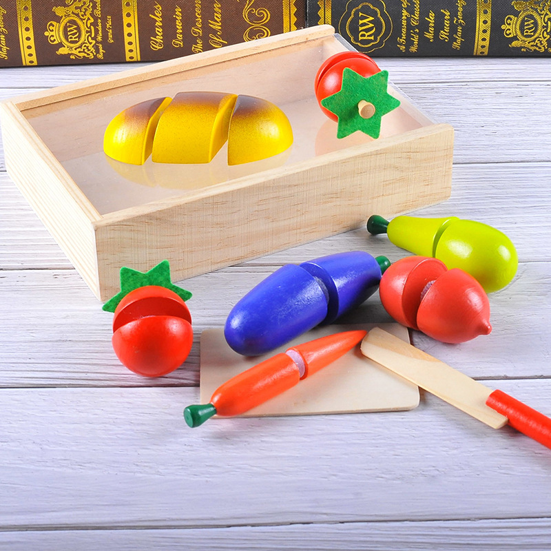 1set Wooden Magnetic Block Kitchen Creative Cutting Fruits and Vegetables Reusable Food Baby Role Playing Children Education Toy