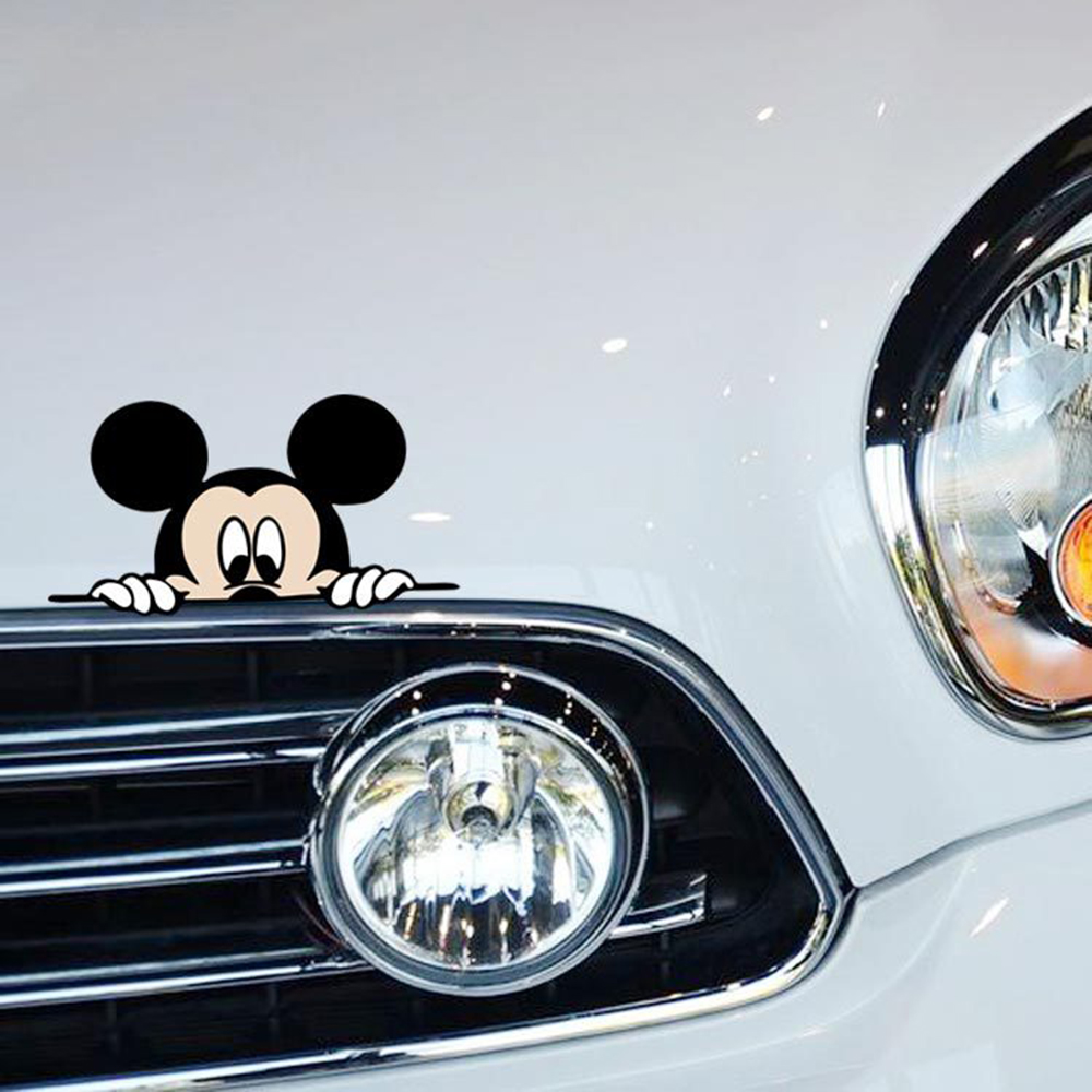 Image 5 - Funny Mickey Mouse Car Sticker Cut Peeping Cover cute cartoon colorful personality fashion stickers window and car tail-in Car Stickers from Automobiles & Motorcycles