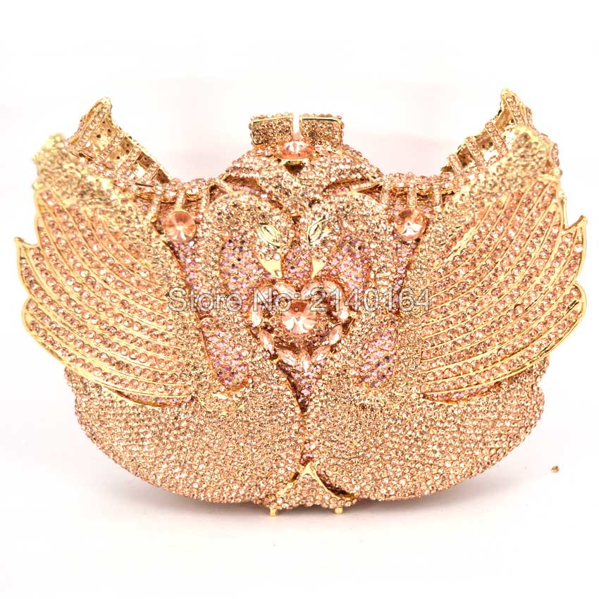New Women Handbags Luxury Crystal swan Shape Evening bags fetal Diamonds Day Clutches Box Party Wedding Purse Gold clutch Q20 luxury real new arrival day clutches diamonds flower women bag banquet crystal handbag wedding party handbags night clubs purse
