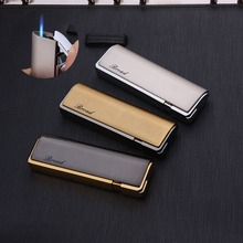 Long Strip Portable Ultra-thin Plating Metal Gas Lighter Inflatable Windproof Straight Cigarette