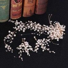 Hair-Band Jewellery Long-Earrings Luxury Headwear-Set Pearl Crystal Handmade ACRDDK Flower