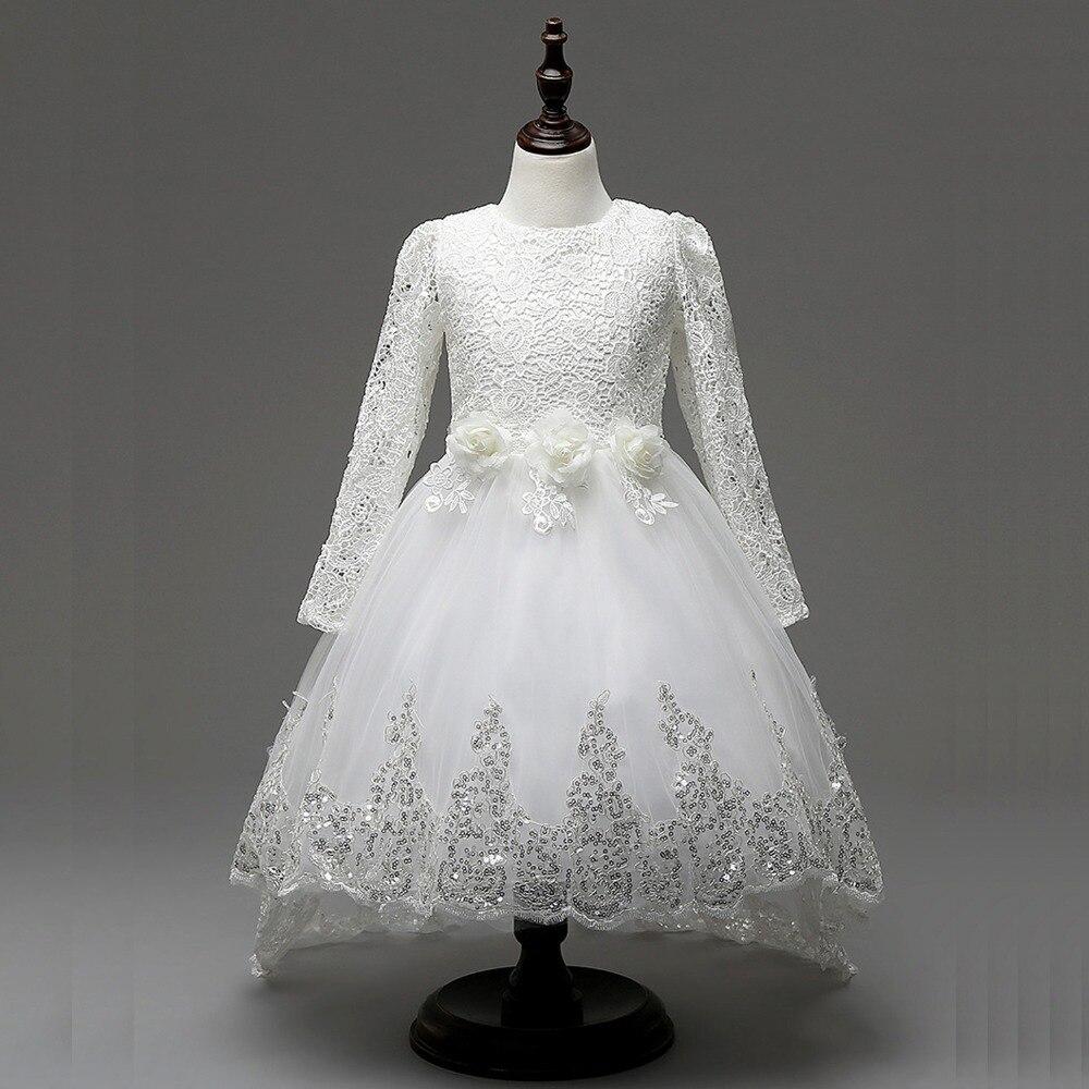 Spring/Autumn princess girls dress long sleeve lace dress floral edge flower girls wedding dress party children clothes lace autumn girls dress long sleeve
