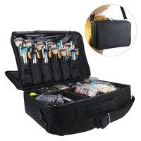 Large Capacity Makeup Case 3 Layers Cosmetic Organizer Brush Bag Makeup Train Case Makeup Artist Box For Hair Curler Hair