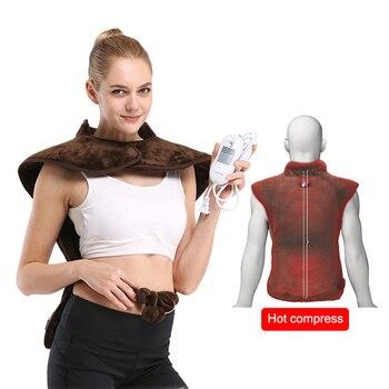 전기 난방 뜸 목도리 원적외선 물리 치료 조끼 뒤로 지원 난방 패드 허리 통증 완화 케어에 적합