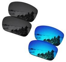 SmartVLT 2 Pairs Polarisierte Sonnenbrille Ersatz Linsen für Oakley Skalpell Stealth Schwarz und Eis Blau