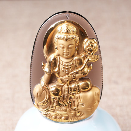 Natural Ice Clear Obsidian Carved Gold color Chinese PUXian Kwan-Yin Lucky Amulet Pendant + free Necklace fashion Jewelry