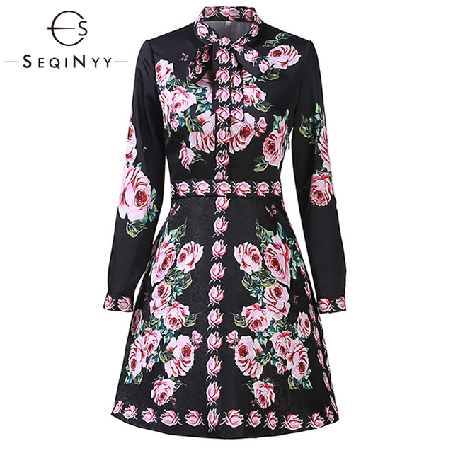SEQINYY Casual Dresses 2018 Early Autumn Woman New Fashion High Street High Quality Rose Flower Slim Printed A-Line Mini Dresses