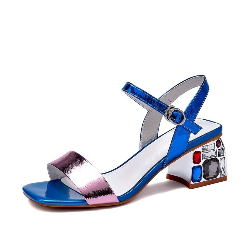 Bombas Tacón Imitación Perfetto Zapatos Alto Azul Diamantes Sandalias Mujeres De Verano Mujer Cuero Las Vaca Cuadrado Moda plata Prova qXw4xHOq