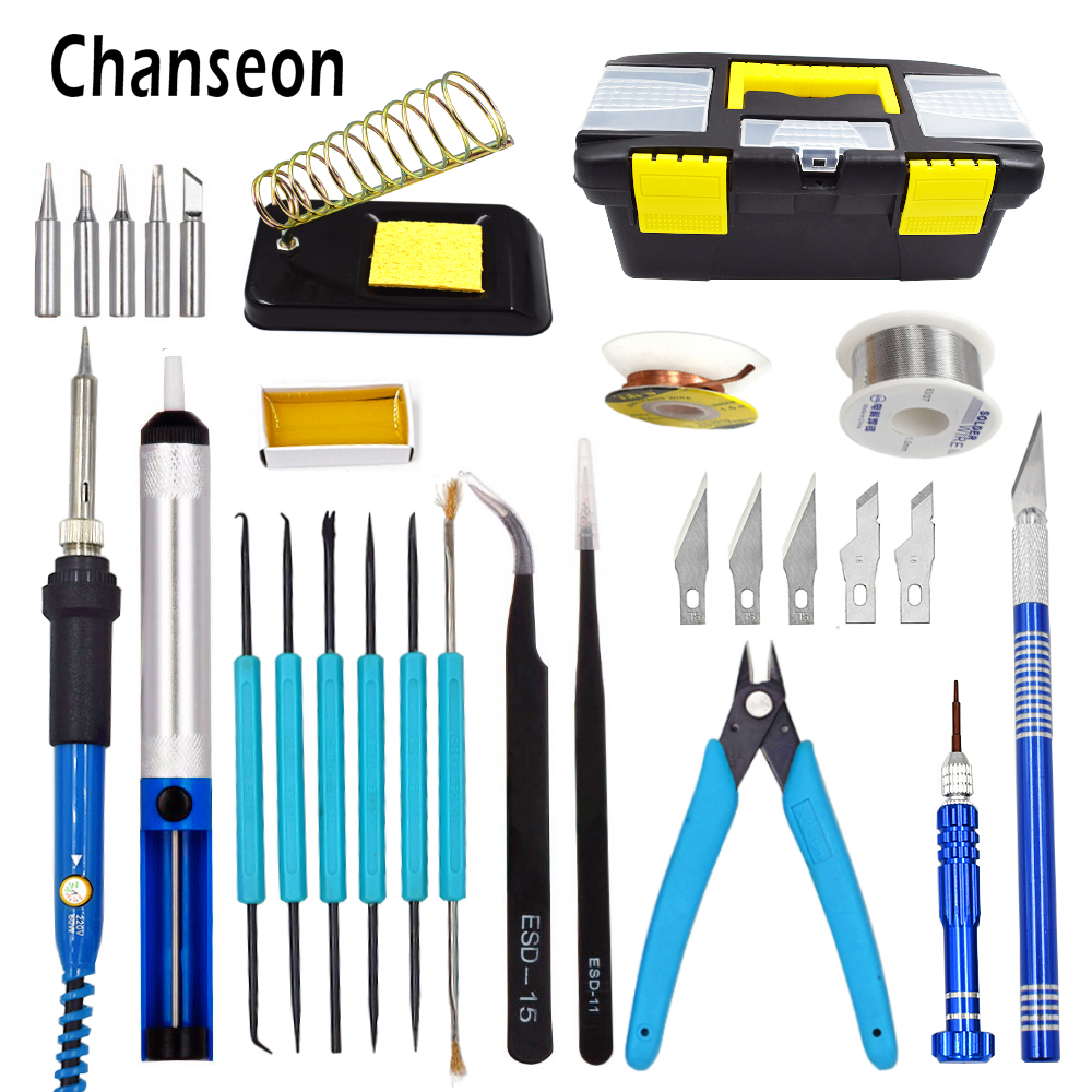 Chanseon EU/US 60W Electric Soldering Iron Kit Temperature Adjustable Welding Solder Iron Tool Rework Station Soldering Iron Box adjustable temperature soldering iron 60w switch welding station tool kit with soldering tips
