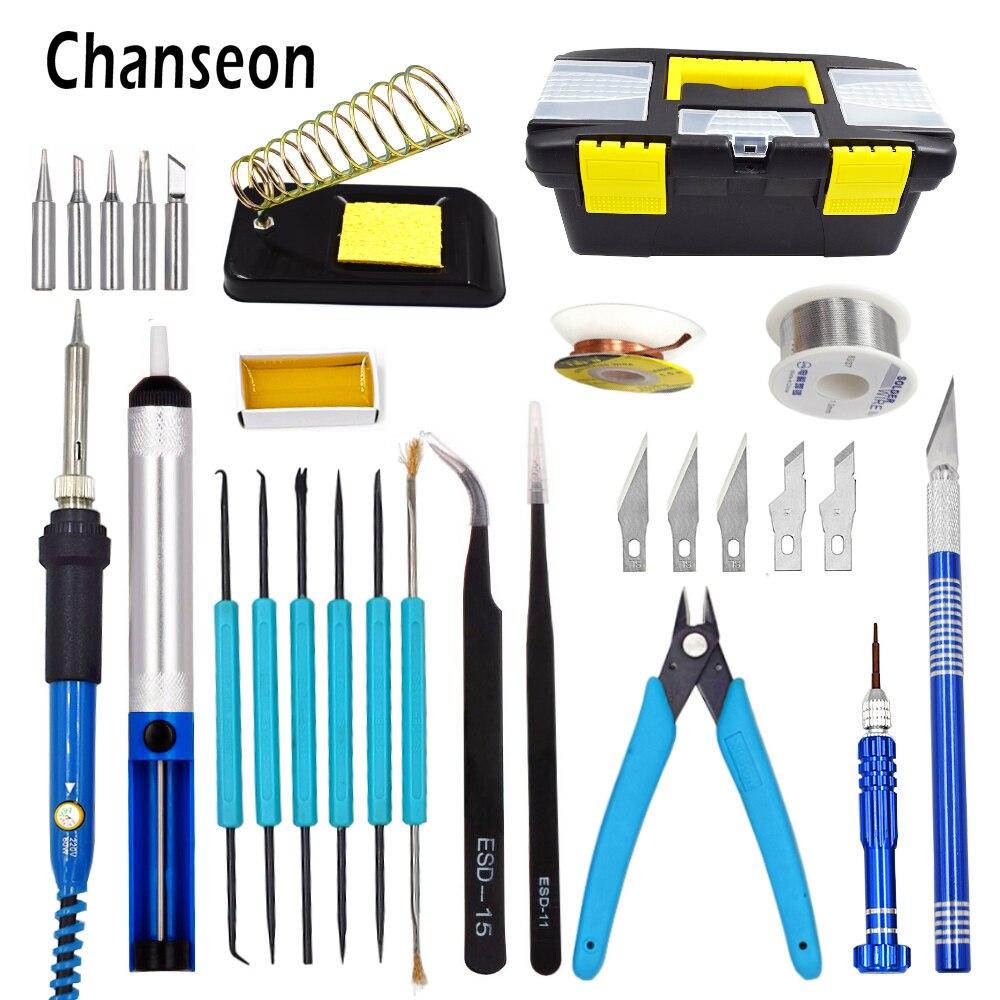 Chanseon EU/US 60W Electric Soldering Iron Kit Temperature Adjustable Welding Solder Iron Tool Rework Station Soldering Iron Box