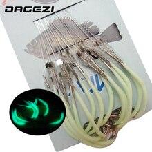 DAGEZI 30pcs/pack Luminous Fishing Hook 12-18# Barbed Hooks Pesca Tackle Accessories High Carbon Steel fishing Hooks