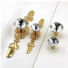 Glass Dresser Knob Crystal Drawer Knobs Handle Gold Clear Rhinestone Cabinet Door Handle Back Plate furniture hardware