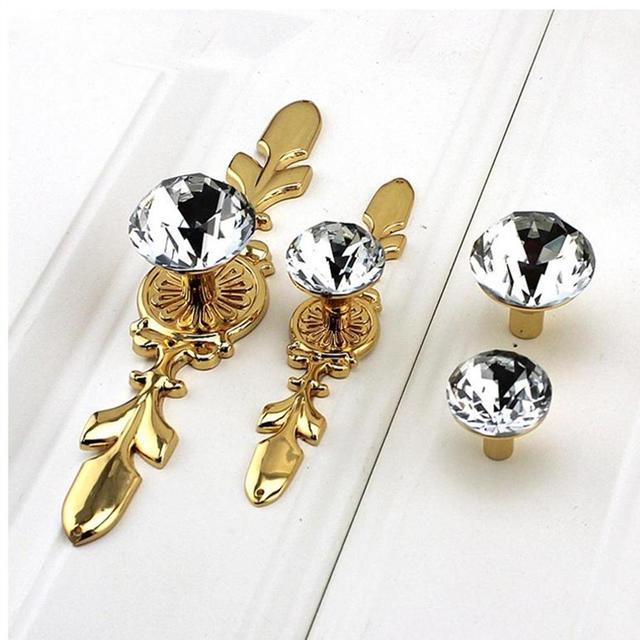 Glass Dresser Knob Crystal Drawer Knobs Handle Gold Clear Rhinestone Cabinet Door Handle Back Plate furniture hardware