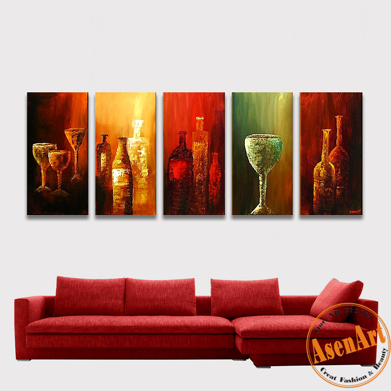 Modern No Frame 5 Piece Abstract Handpainted Wine Bottle Oil Painting Abstract Wall art Pictures Sets
