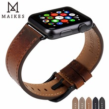 MAIKES Vintage Leather Watch Strap Replacement For Apple Watch Band 40mm 44mm Series 4 iWatch Bracelet 42mm 38mm Series 3 2 1 leather band for apple watch 40mm 44mm series 4 high quality mixed color replacement strap for iwatch series 1&2&3 38mm 42mm