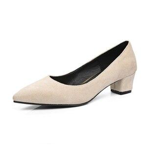 Image 2 - ANOVISHANA/женские туфли лодочки; модельные туфли лодочки; женские туфли лодочки из флока на высоком каблуке с острым носком; сезон весна осень; zapatosD049; размеры 47