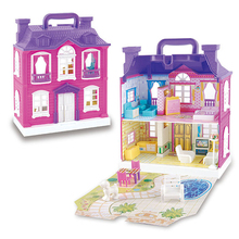 Musical Lighten Sounding Doll House Simulation Toys Furniture Diy Dust Cover 3D Plastic Miniatures Dollhouse Toy for Children