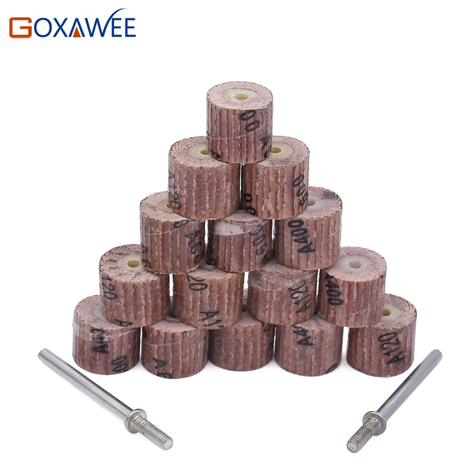 10pcs Emery Cloth 80/120/240/400/600# Abrasive Sandpaper 12mm Grinding Flap Wheel Brushes For Woodworking Disc With 2 Mandrel