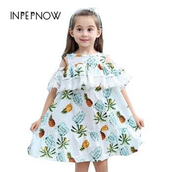 Inpepnow 여자 드레스 2019 브랜드 공주 드레스 슬리브 파인애플 인쇄 디자인 어린이 옷 의상 LYQ-CZX65