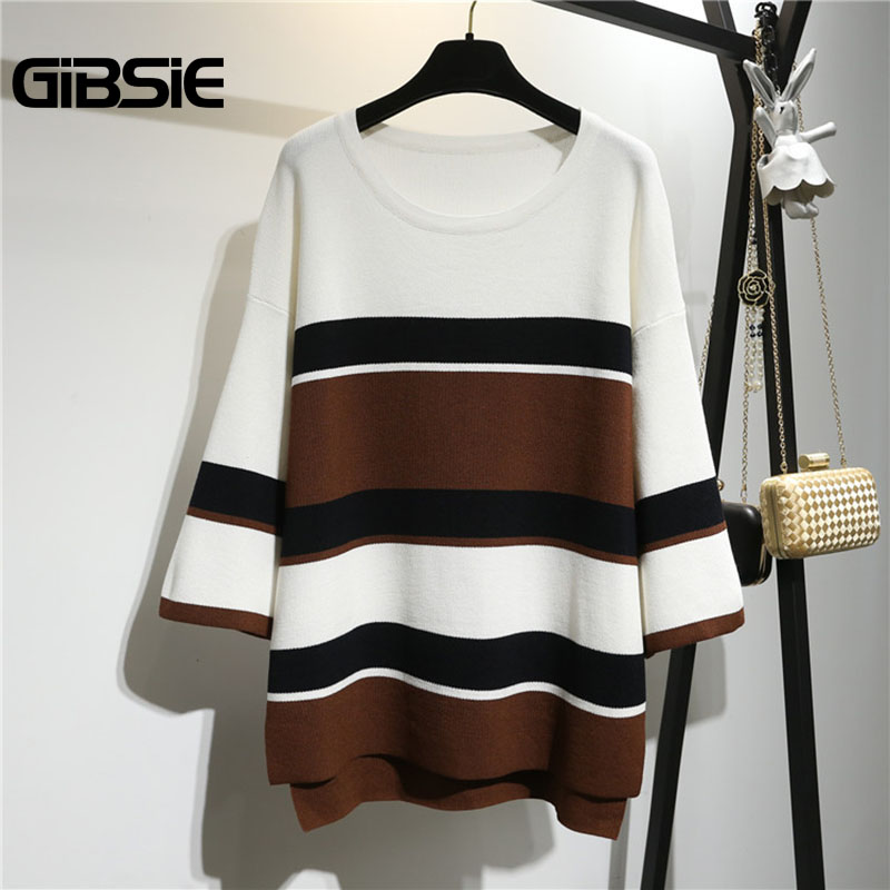 GIBSIE Plus Size Women Clothing 5XL 4XL 3XL Autumn Winter Ladies Color Block Loose Sweater Women Casual High Low Pullover Tops