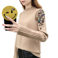 2018 Autumn Winter Knitted Sweater Women Half Turtleneck Long Sleeve Embroidery Pullover Sweater Women Loose Pull
