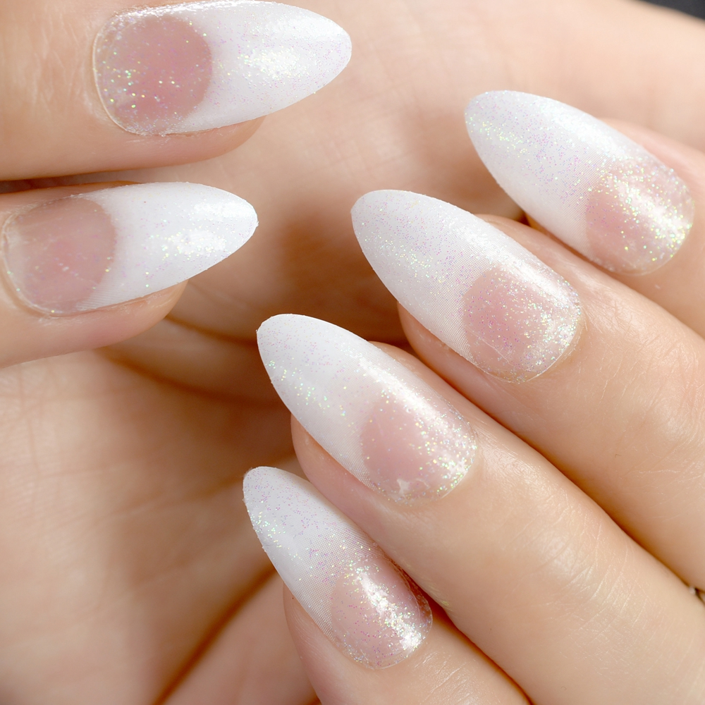 24Pcs Fashion Acrylic Pointed False Nail Stiletto Nails Clear Holo ...