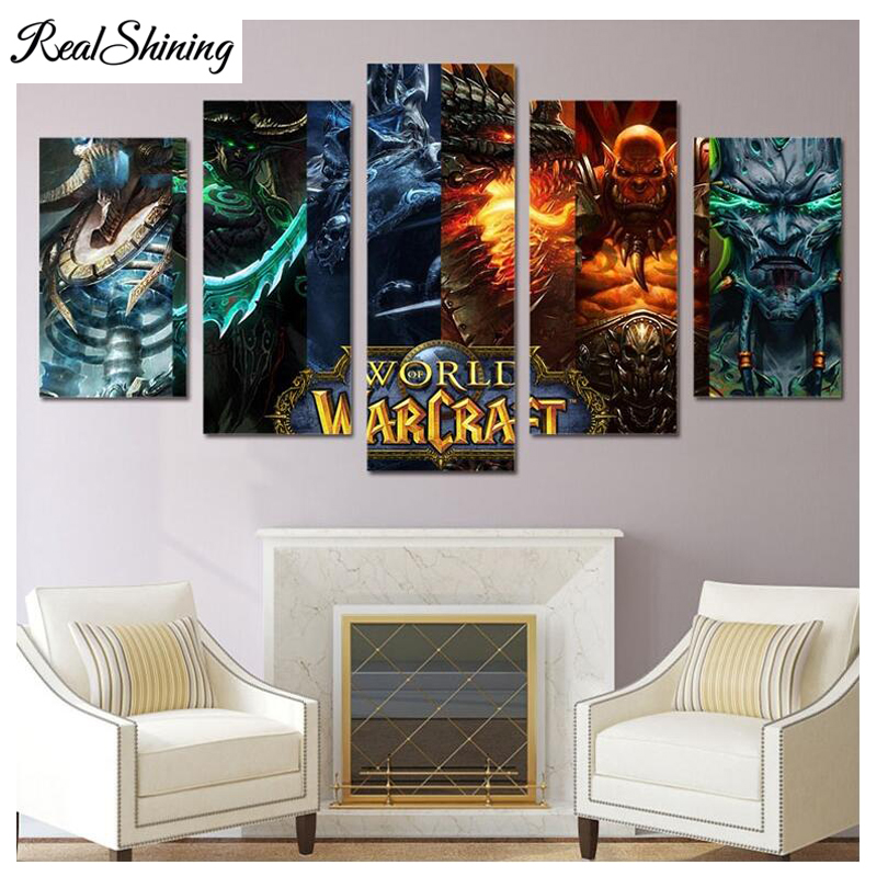 REALSHINING 5pcs full Diamond Embroidery Diamond Mosaic Painting games wars Picture DIY Diamond Painting Cross Stitch FS1276