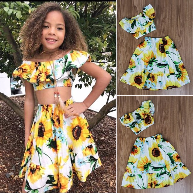 0f7ea03c8d Puseky 1-6Y 2pcs/set Baby Girl Sunflower Boat Neck Crop Top+Skirt Kid  Summer Tropical Clothes Suit Outfit Elegant Wear Casual