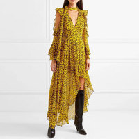 Fashion Runway Irregula Holiday Women Dress Summer Yellow Leopard Print Chiffon Ruffles Long Dess Sexy Off Shoulder Bow Dress