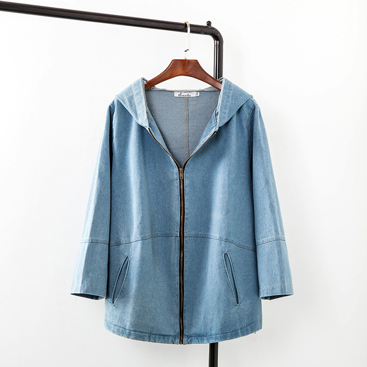 831094bf2cb34 2016 Autumn Zipper Denim Jackets Women Plus Size 3XL Casual Loose Hooded  Jacket Blue Outerwear KK1739-in Basic Jackets from Women s Clothing    Accessories