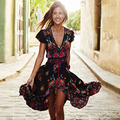 MCCKLE women summer Bohemia dresses sexy v neck short sleeve maxi dress ankle length print dresses fit and flare chiffon dress