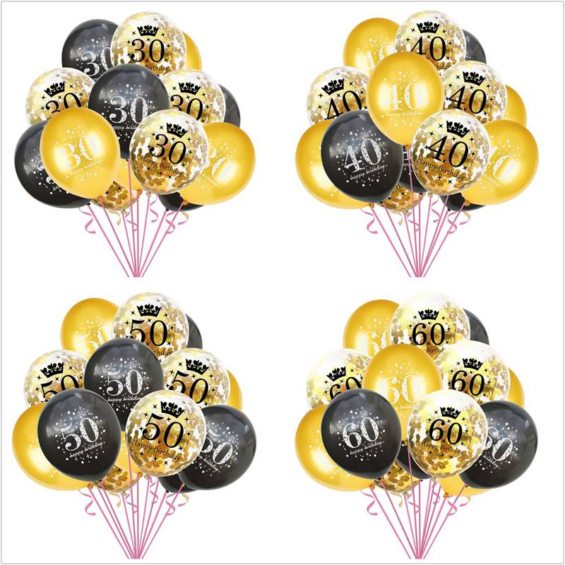 15PCS Black Gold Confetti Letter Balloons 16 18 30 40 50 60 70 80 90 Anniversary Birthday Party Decoration Digital Latex Ballon image