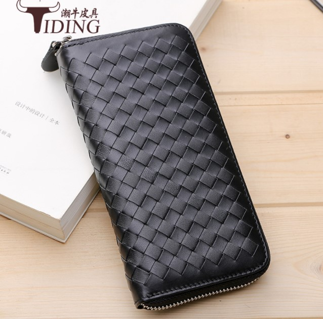 men clutch wallets black plaid unisex cow leather 2018 new women fashion  zipper organizer wallets coin purse money clips bags